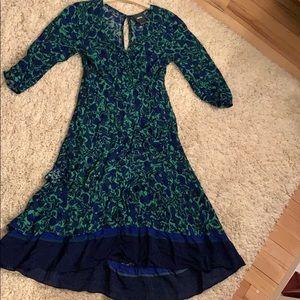 Anthropologie Blue Green Dress 0P